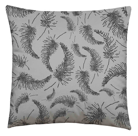 Palm Feather Square Cushion Carbon