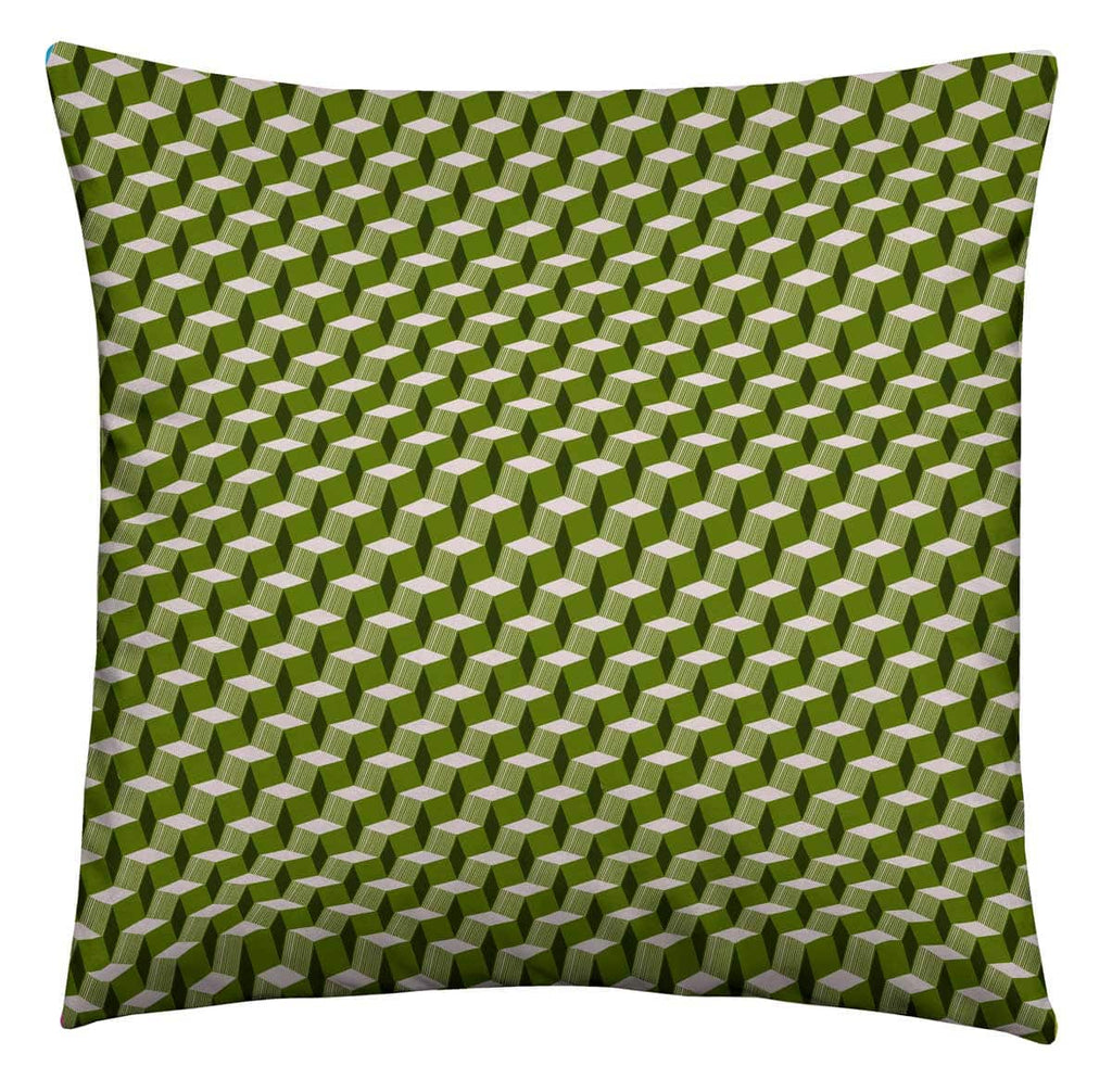 Green Geometric Cushion