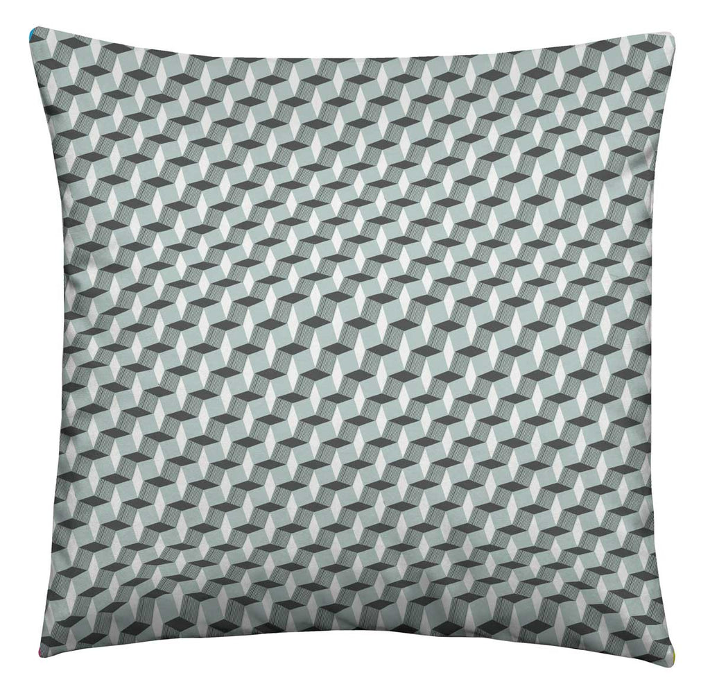 Grey Geometric Cushion
