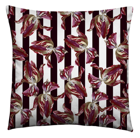 Ashmolean - Fallen Tulip Stripe Piped Velvet Cushion