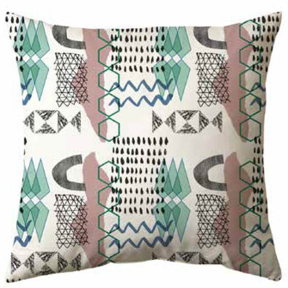 Funky Geometric Velvet Cushion