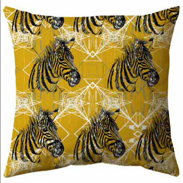 Zebra Print Velvet Cushion