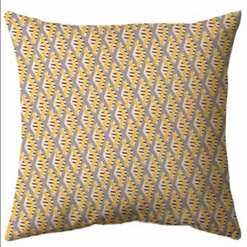 Yellow Grey Warp & Weft Cushion
