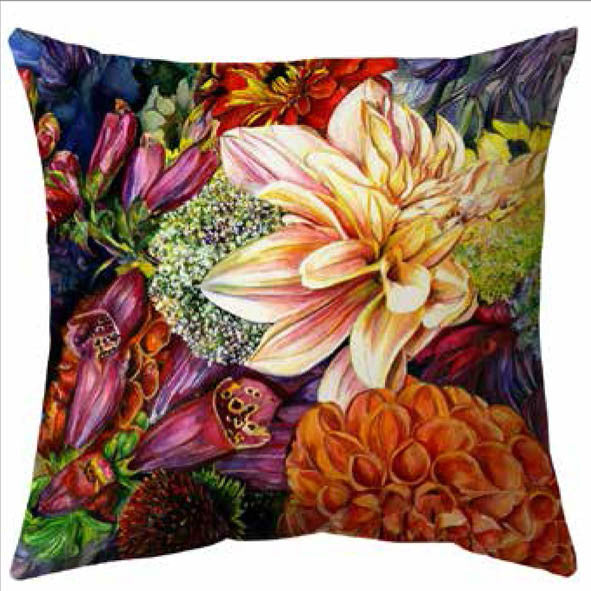 Blooming Flowers Velvet Cushion