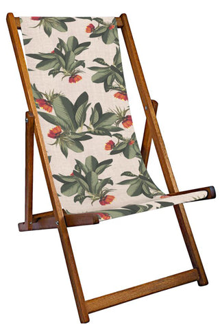 Tropical Leaves Deckchair - Pale Pink