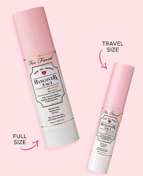 Too Faced Hangover 3-in-1 Replenishing Primer & Setting Spray travel size 1oz/30mL