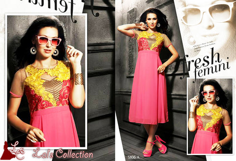 Inspire Party Wear Long Kurtis | Embroidered Kurti Tops