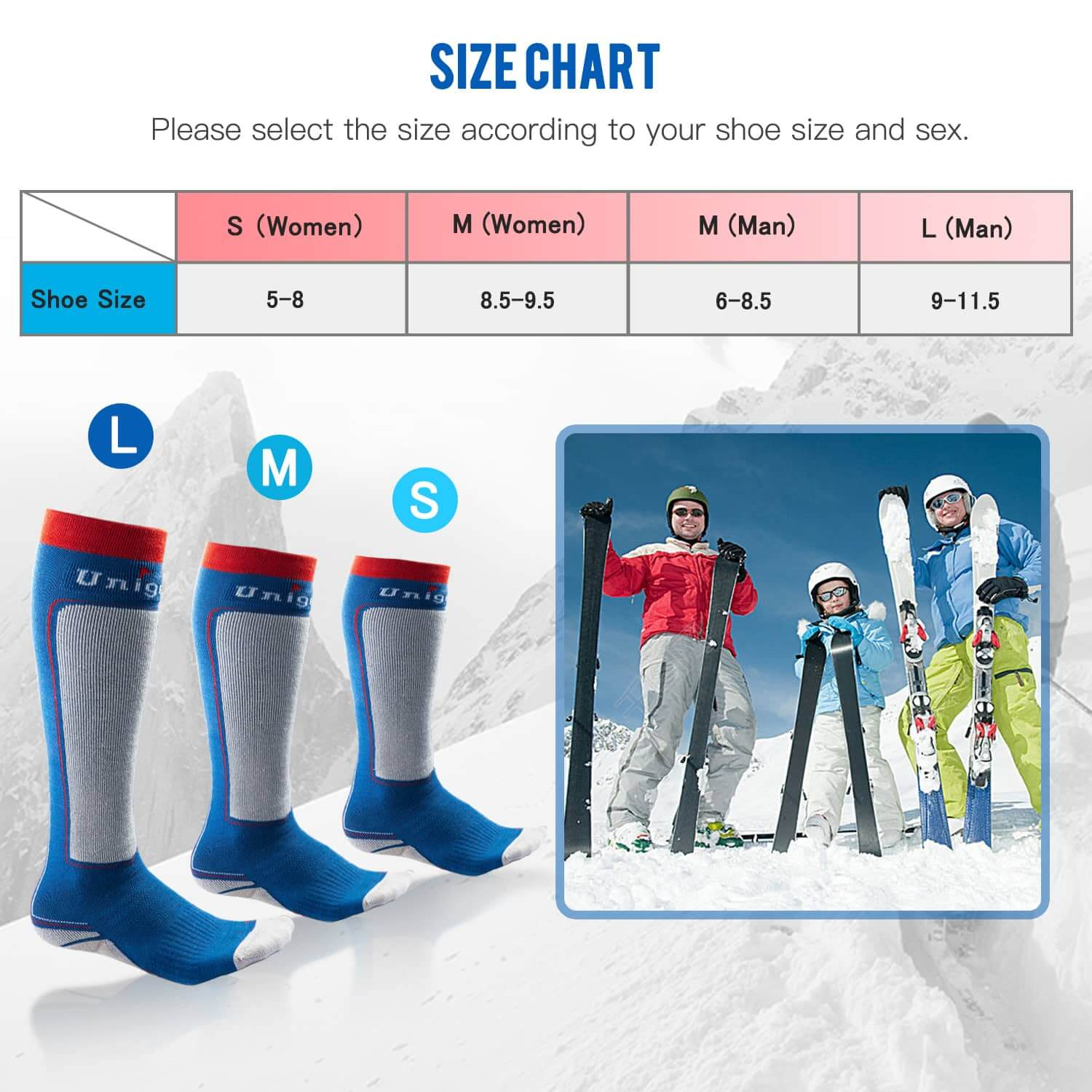 ski winter socks size chart