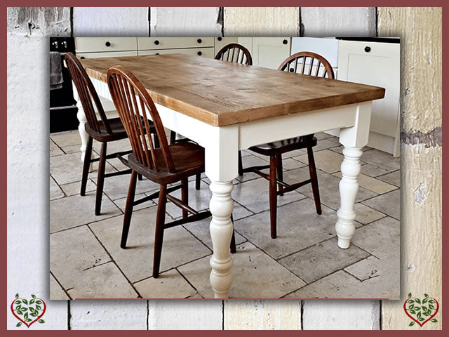 Rustic Plank Painted Pine Dining Table | Paul Martyn Furniture UK