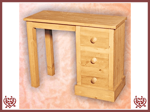 SHAKER PINE SINGLE PEDESTAL DRESSING TABLE | Paul Martyn Furniture UK