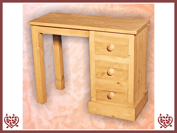 SHAKER PINE SINGLE PEDESTAL DRESSING TABLE - paul-martyn-furniture