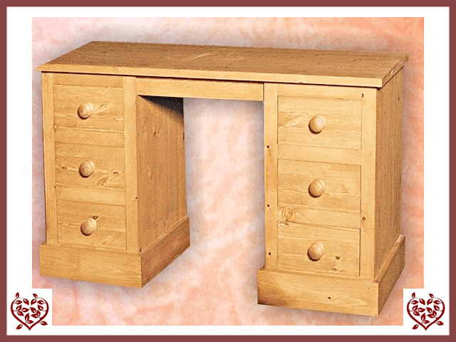 SHAKER PINE TWIN PEDESTAL DRESSING TABLE - paul-martyn-furniture