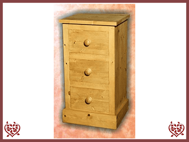 SHAKER 3 DRAWER BEDSIDE CHEST