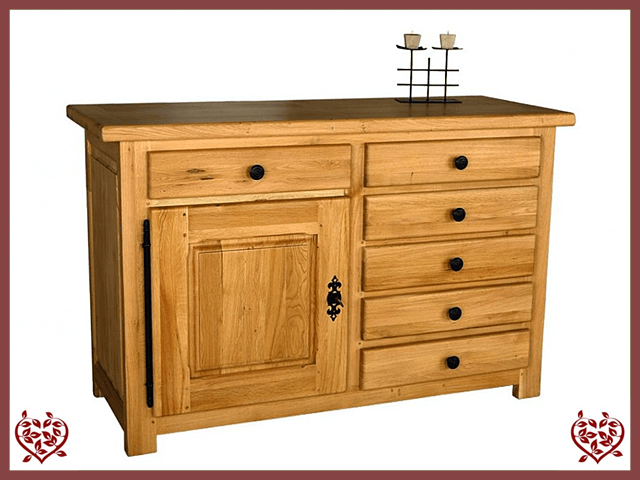 COUNTRY OAK SIDEBOARD 1 DOOR/6 DRAWERS
