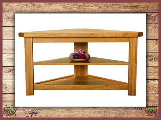 COUNTRY OAK OPEN CORNER TV UNIT | Paul Martyn Furniture UK