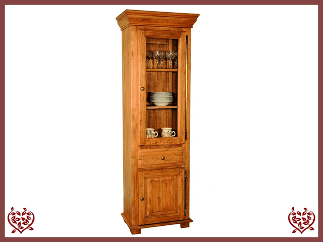 HERITAGE OAK DISPLAY CABINET – 2 DOORS/1 DRAWER - paul-martyn-furniture