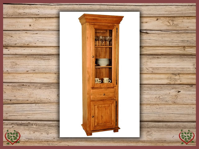 HERITAGE OAK DISPLAY CABINET – 2 DOORS/1 DRAWER