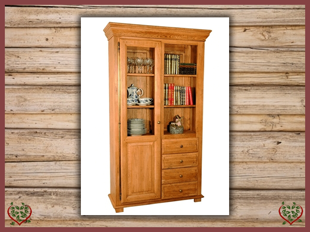 HERITAGE OAK BOOKCASE – 1 DOOR/4 DRAWERS | Paul Martyn Furniture UK