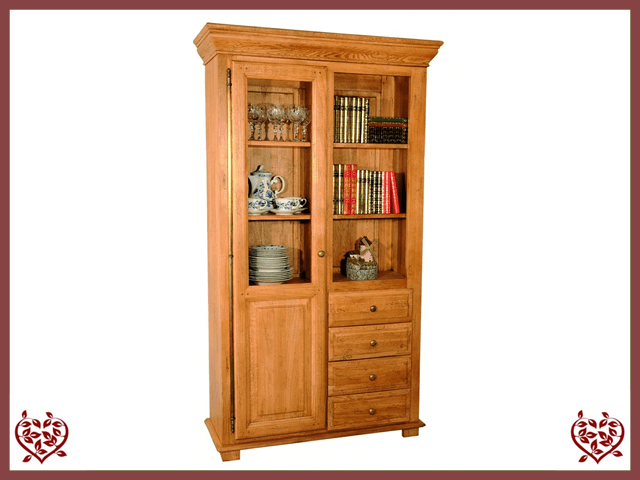 HERITAGE OAK BOOKCASE – 1 DOOR/4 DRAWERS