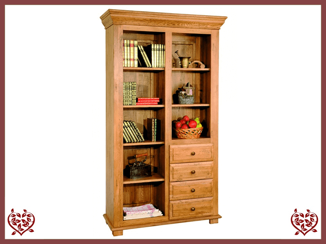 HERITAGE OAK BOOKCASE – 4 DRAWERS