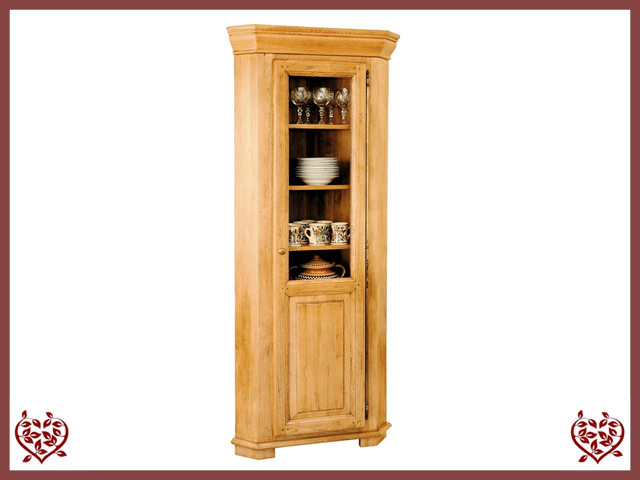 HERITAGE OAK CORNER DISPLAY CABINET – 1 DOOR | Paul Martyn Furniture UK