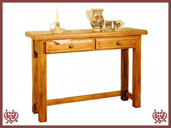 HERITAGE OAK HALL TABLE – 2 DRAWERS - paul-martyn-furniture