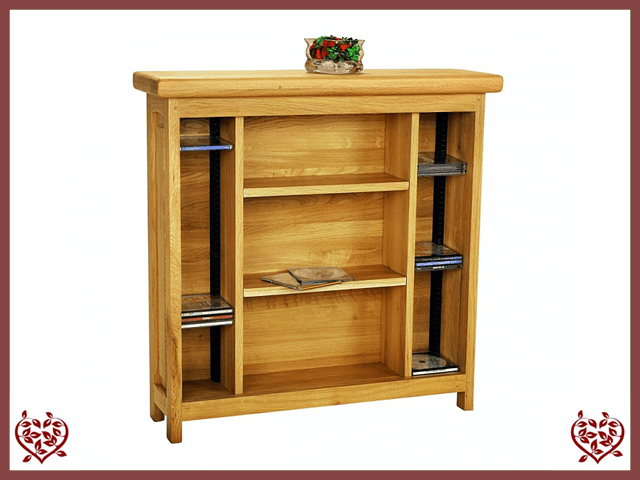 COUNTRY OAK CD & DVD STORAGE CABINET