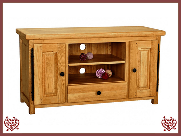 COUNTRY OAK WIDESCREEN TV CABINET - paul-martyn-furniture