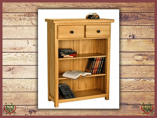 COUNTRY OAK OPEN LOW BOOKCASE | Paul Martyn Furniture UK