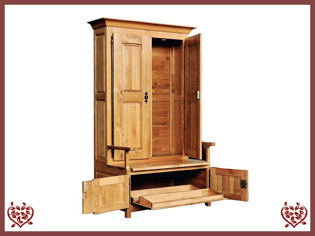 COUNTRY OAK CUPBOARD WITH UNDERSEAT SHOE STORAGE