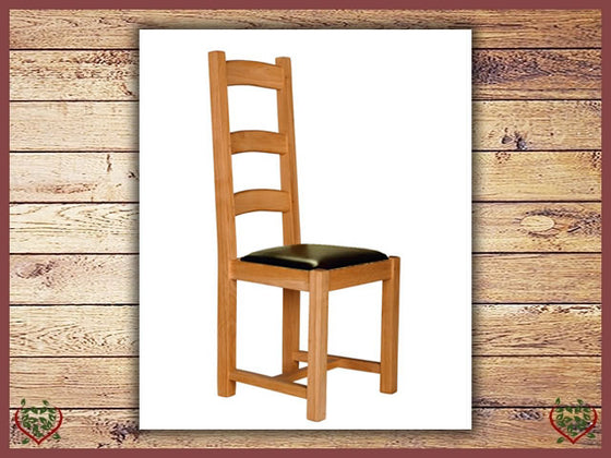 COUNTRY OAK DINING CHAIR – LEATHER SEAT Paul Martyn Furniture UK