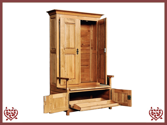 COUNTRY OAK CUPBOARD WITH UNDERSEAT SHOE STORAGE - paul-martyn-furniture