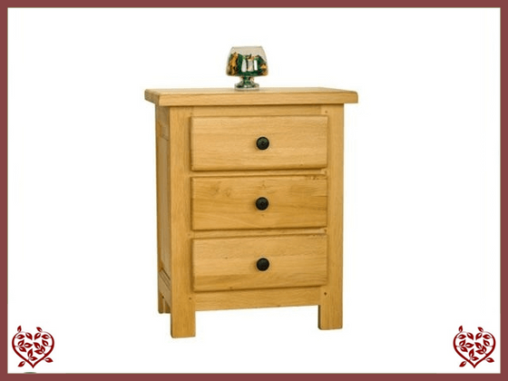 COUNTRY OAK 3 DRAWER BEDSIDE CHEST - paul-martyn-furniture