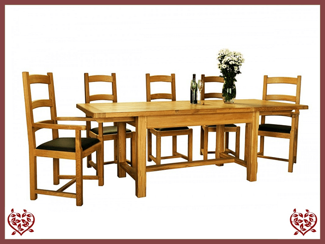 COUNTRY OAK SLAT END EXTENDING DINING TABLE