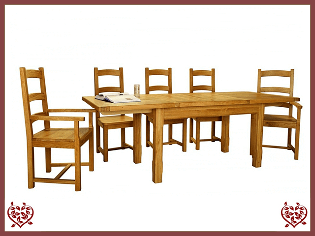 COUNTRY OAK SLAT END EXTENDING DINING TABLE | Paul Martyn Furniture UK