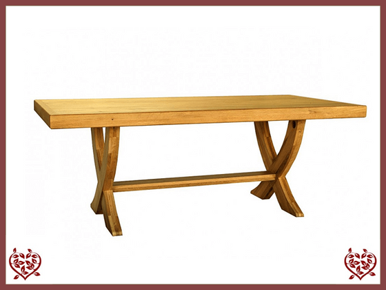 COUNTRY OAK MONASTER X LEG DINING TABLE