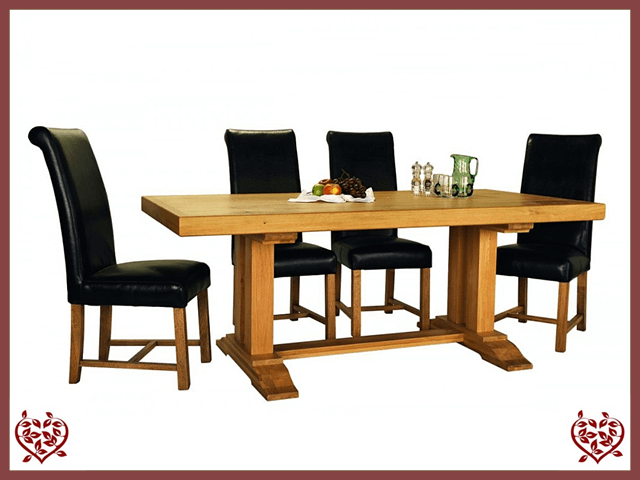 COUNTRY OAK MONASTER DOUBLE LEG DINING TABLE