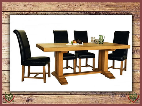 COUNTRY OAK MONASTER DOUBLE LEG DINING TABLE | Paul Martyn Furniture UK