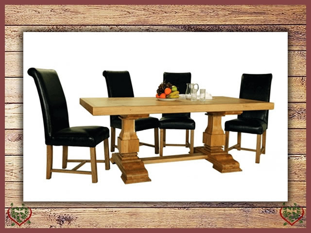 COUNTRY OAK RUSTIC DINING TABLE – ROUND LEGS | Paul Martyn Furniture UK