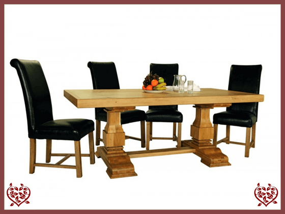 COUNTRY OAK RUSTIC DINING TABLE – ROUND LEGS