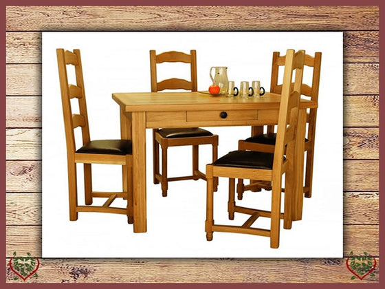 COUNTRY OAK FARMHOUSE TABLE WITH DRAWER | Paul Martyn Furniture UK