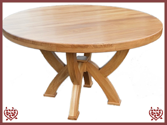 Country Oak Rustic X Leg 1 2 M Round Dining Table