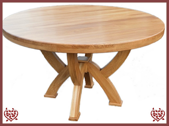 COUNTRY OAK RUSTIC X LEG 1.2 M ROUND DINING TABLE - paul-martyn-furniture