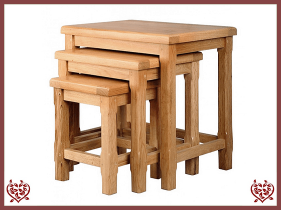 COUNTRY OAK NEST OF TABLES - paul-martyn-furniture