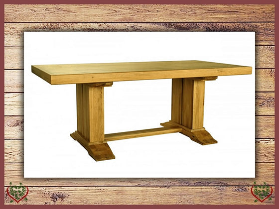 COUNTRY OAK RUSTIC DOUBLE LEG DINING TABLE Paul Martyn Furniture UK