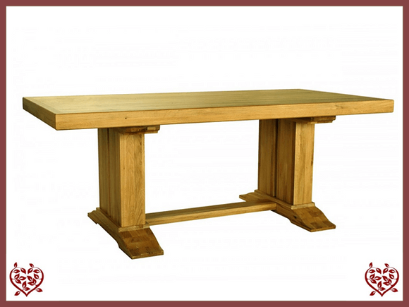 COUNTRY OAK RUSTIC DOUBLE LEG DINING TABLE - paul-martyn-furniture