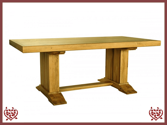 COUNTRY OAK RUSTIC DOUBLE LEG DINING TABLE