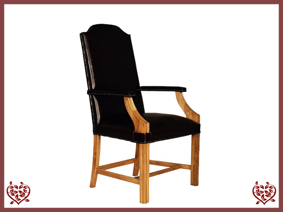 CATHEDRAL LEATHER OAK CARVER DINING CHAIR