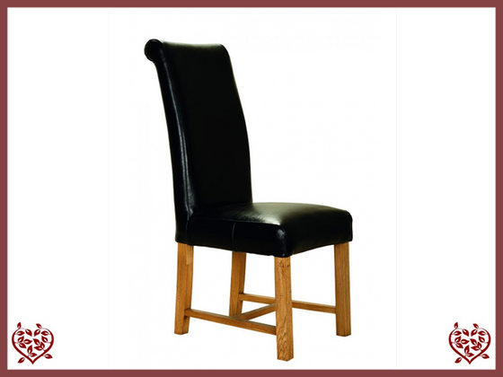 ROLL TOP LEATHER OAK DINING CHAIR | Paul Martyn Furniture UK