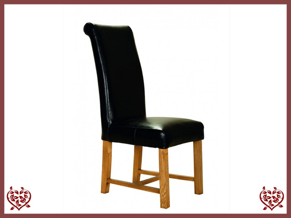 ROLL TOP LEATHER OAK DINING CHAIR